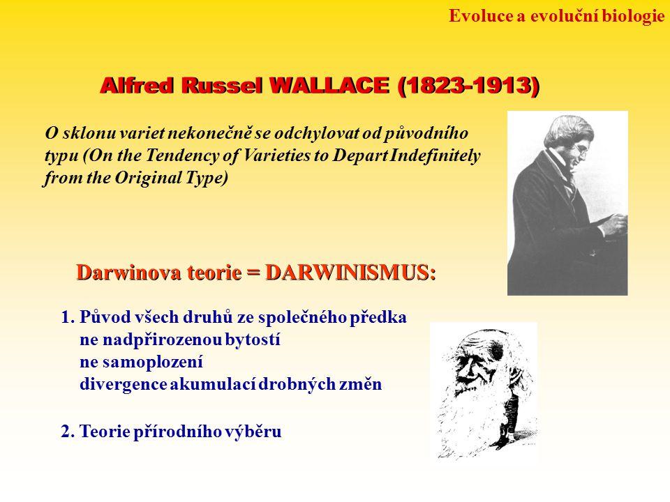 Evoluce a evoluční biologie Alfred Russel WALLACE (1823-1913) O sklonu variet nekonečně se odchylovat od původního typu (On the Tendency of Varieties