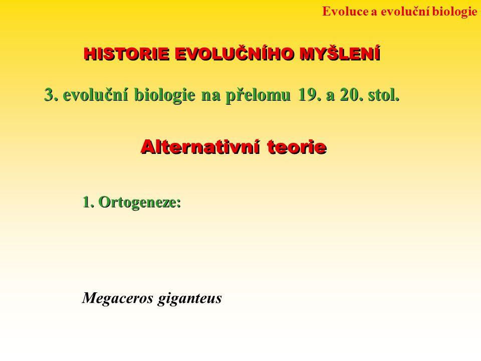 Evoluce a evoluční biologie HISTORIE EVOLUČNÍHO MYŠLENÍ 3. evoluční biologie na přelomu 19. a 20. stol. Alternativní teorie 1. Ortogeneze: Megaceros g