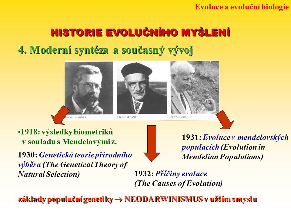 Evoluce a evoluční biologie HISTORIE EVOLUČNÍHO MYŠLENÍ 4. Moderní syntéza a současný vývoj 1930: Genetická teorie přírodního výběru (The Genetical Th