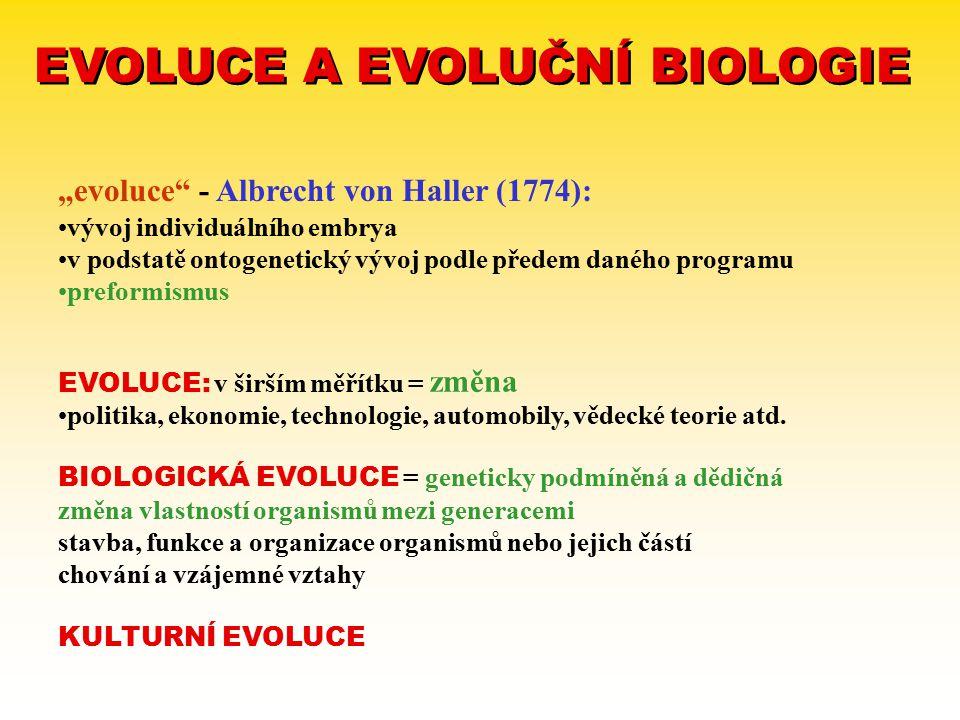 """EVOLUCE A EVOLUČNÍ BIOLOGIE """"evoluce"""" - Albrecht von Haller (1774): vývoj individuálního embrya v podstatě ontogenetický vývoj podle předem daného pro"""
