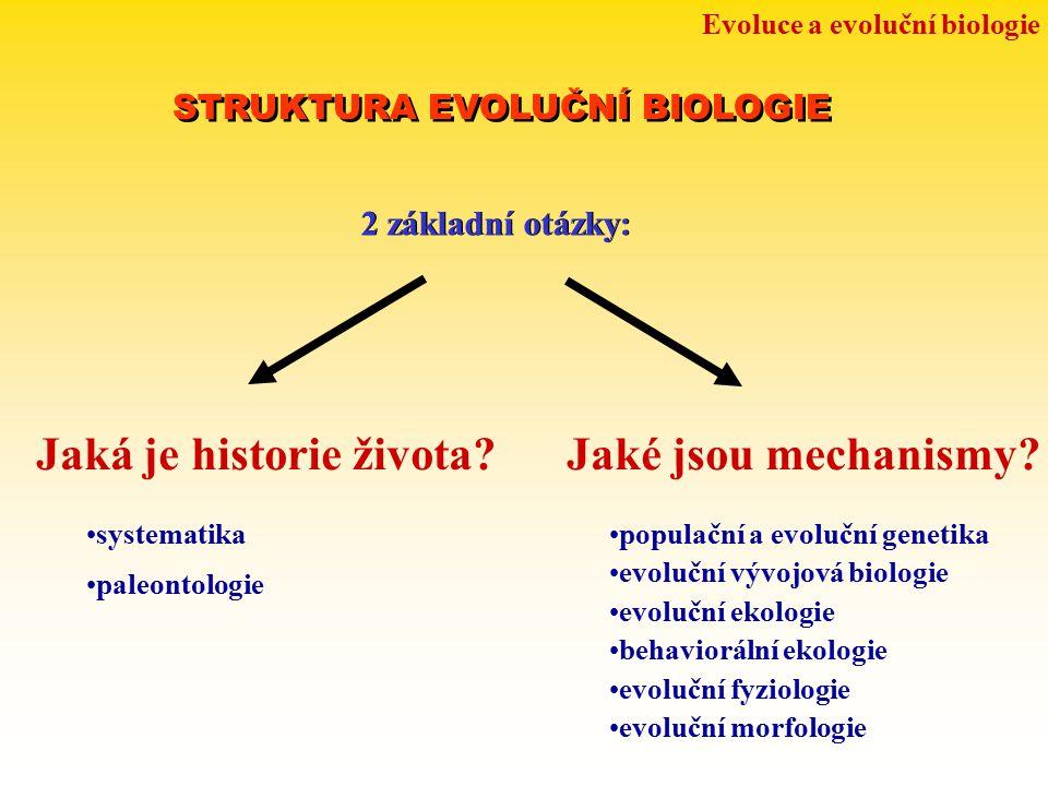Evoluce a evoluční biologie STRUKTURA EVOLUČNÍ BIOLOGIE 2 základní otázky: Jaká je historie života?Jaké jsou mechanismy? systematika paleontologie pop
