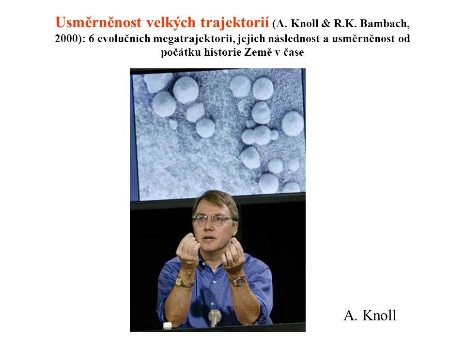 Usměrněnost velkých trajektorií (A. Knoll & R.K. Bambach, 2000): 6 evolučních megatrajektorií, jejich následnost a usměrněnost od počátku historie Zem