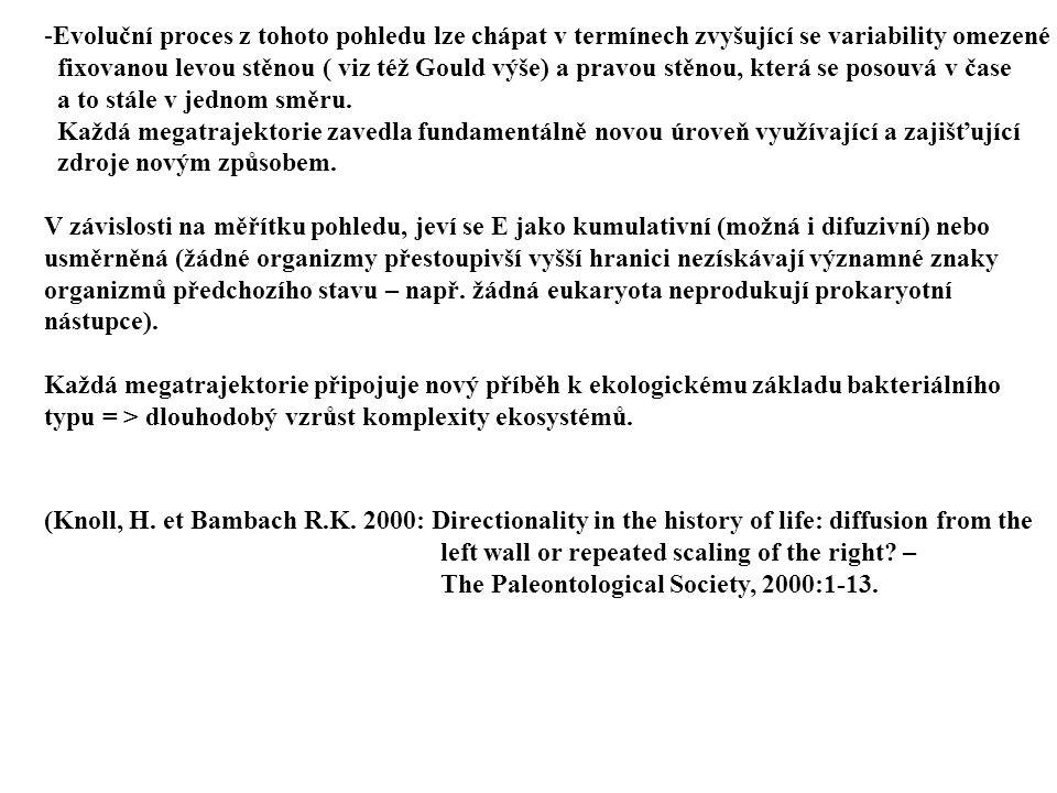 -Evoluční proces z tohoto pohledu lze chápat v termínech zvyšující se variability omezené fixovanou levou stěnou ( viz též Gould výše) a pravou stěnou