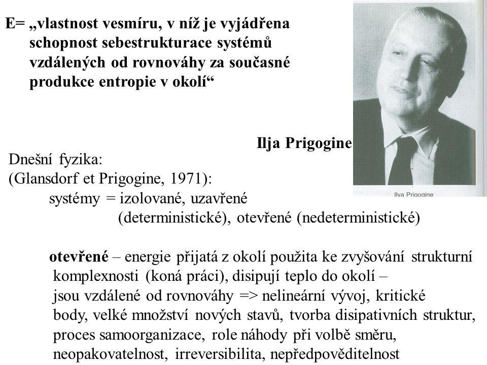Dnešní fyzika: (Glansdorf et Prigogine, 1971): systémy = izolované, uzavřené (deterministické), otevřené (nedeterministické) otevřené – energie přijat