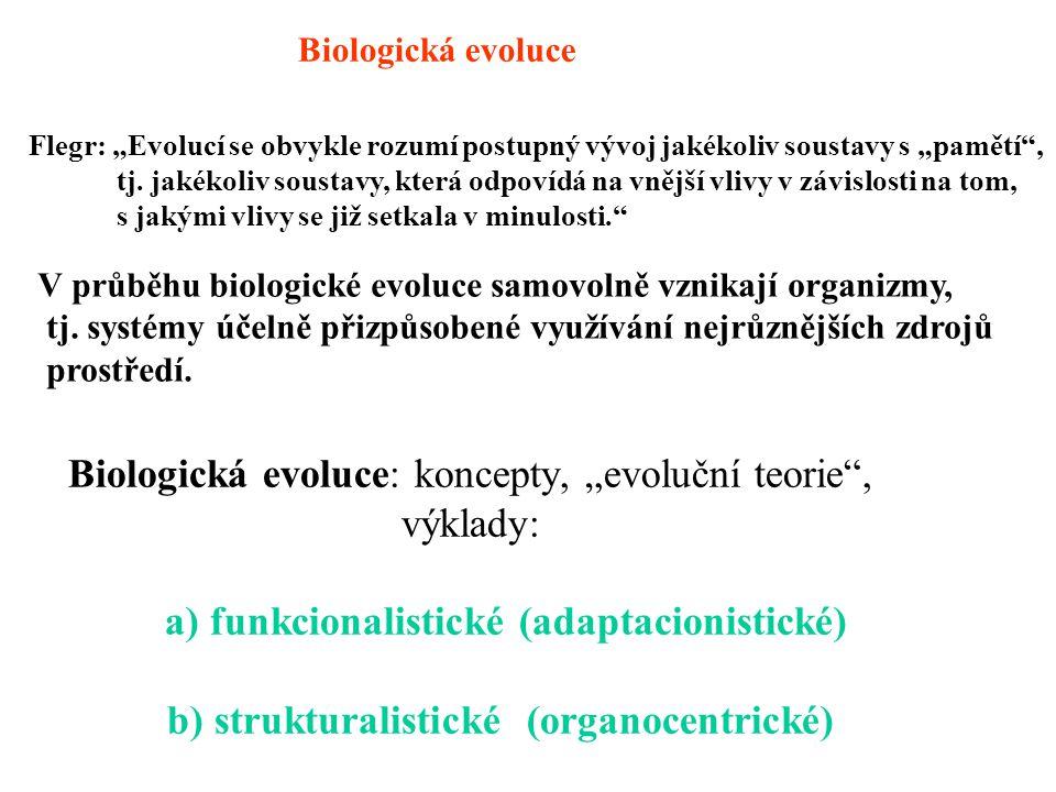 """Biologická evoluce: koncepty, """"evoluční teorie"""", výklady: a) funkcionalistické (adaptacionistické) b) strukturalistické (organocentrické) Biologická e"""
