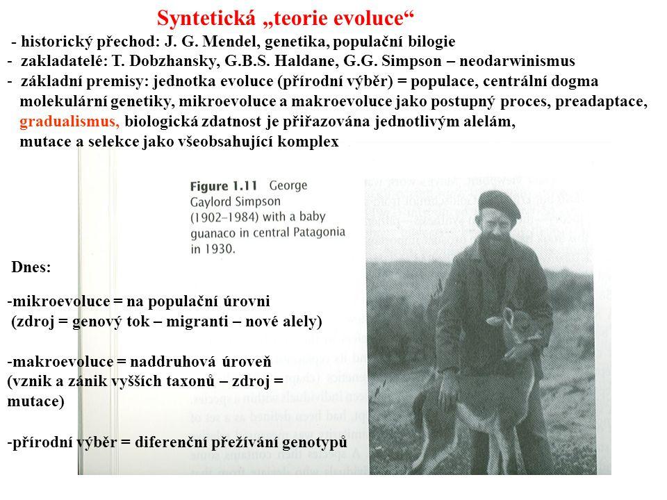 """-mikroevoluce = na populační úrovni (zdroj = genový tok – migranti – nové alely) -makroevoluce = naddruhová úroveň (vznik a zánik vyšších taxonů – zdroj = mutace) -přírodní výběr = diferenční přežívání genotypů Dnes: Syntetická """"teorie evoluce - historický přechod: J."""