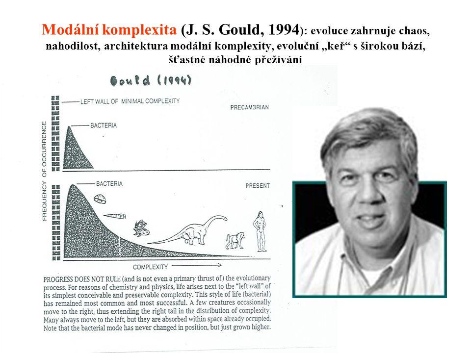 """Modální komplexita (J. S. Gould, 1994 ): evoluce zahrnuje chaos, nahodilost, architektura modální komplexity, evoluční """"keř"""" s širokou bází, šťastné n"""