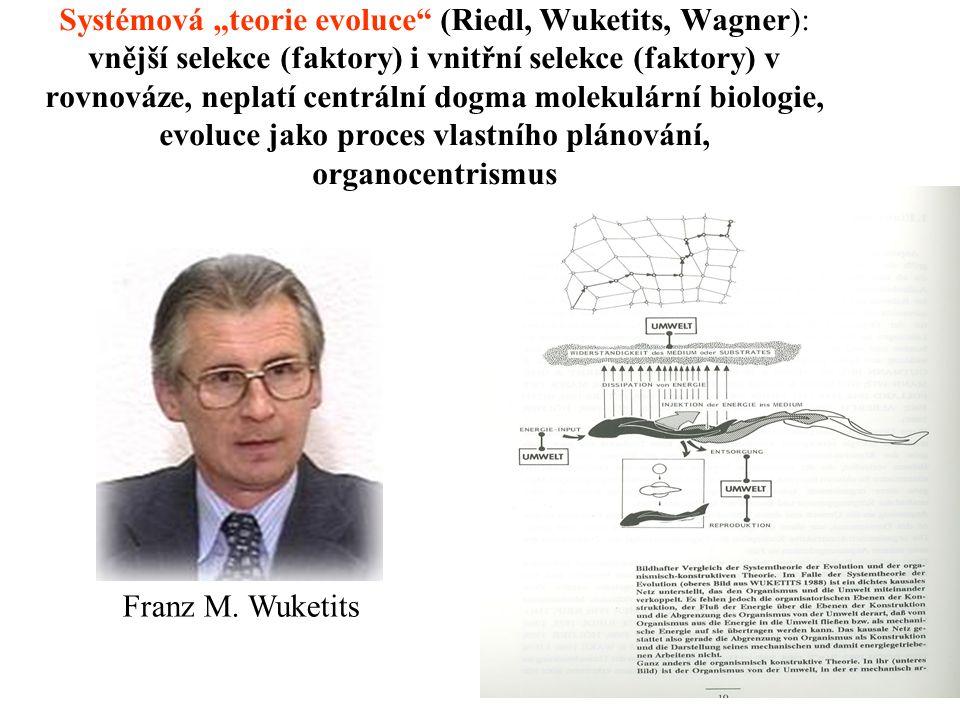 """Systémová """"teorie evoluce (Riedl, Wuketits, Wagner): vnější selekce (faktory) i vnitřní selekce (faktory) v rovnováze, neplatí centrální dogma molekulární biologie, evoluce jako proces vlastního plánování, organocentrismus Franz M."""