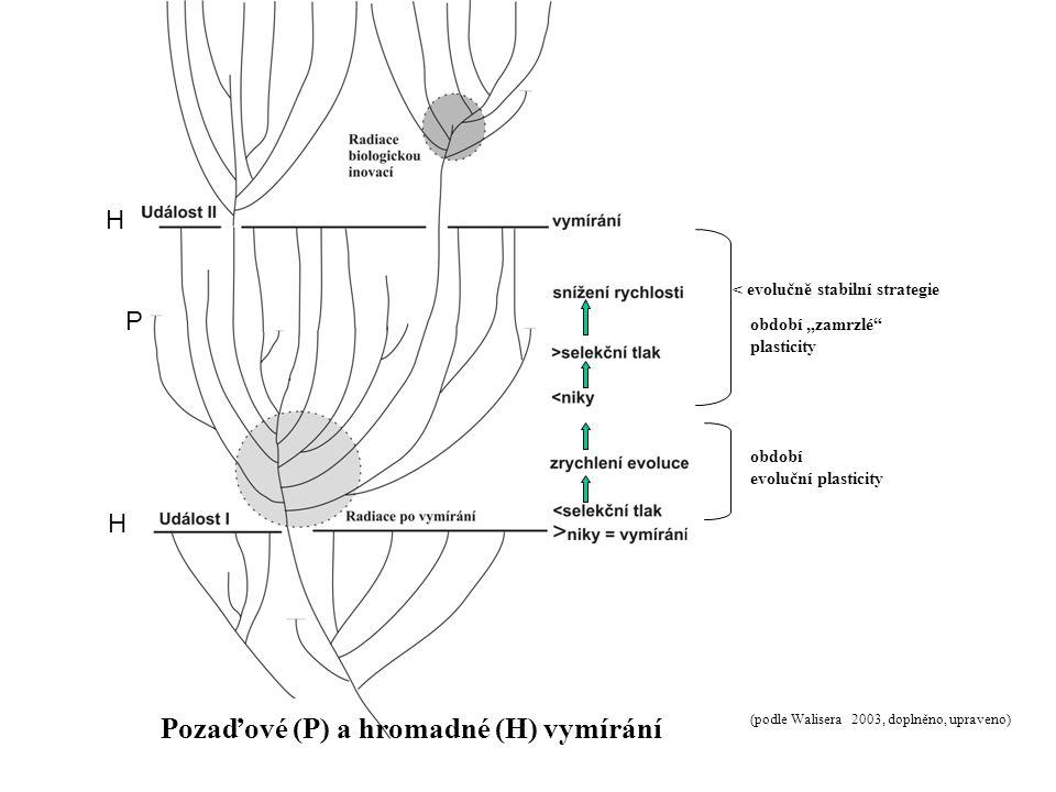 """< evolučně stabilní strategie období evoluční plasticity období """"zamrzlé plasticity (podle Walisera 2003, doplněno, upraveno) Pozaďové (P) a hromadné (H) vymírání P H H"""