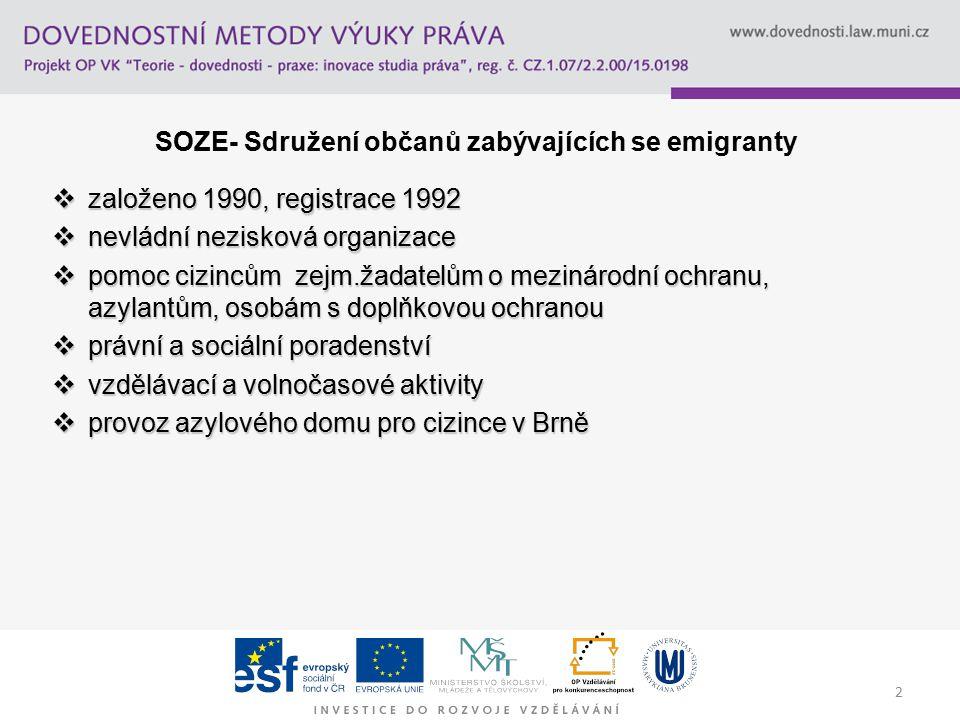 3 Dosavadní aktivity a zkušenosti s klinikami  klinika uprchlického práva na PF MU r.2002-pilotní projekt  společný projekt financovaný OSF-2003/2004  klinika uprchlického práva na PF UP-v rámci projektu ESF/OPRLZ - Rozvoj praktických forem výuky-2006-2008  sociální uprchlická klinika FSS, obor sociální práce a sociální politika-od r.2003  psychologická uprchlická klinika na FF, obor psychologie