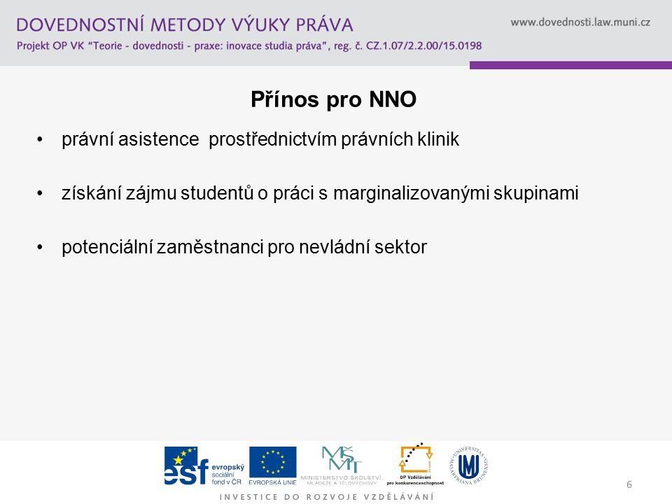 6 Přínos pro NNO právní asistence prostřednictvím právních klinik získání zájmu studentů o práci s marginalizovanými skupinami potenciální zaměstnanci pro nevládní sektor
