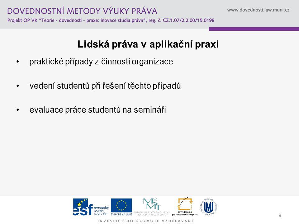 9 Lidská práva v aplikační praxi praktické případy z činnosti organizace vedení studentů při řešení těchto případů evaluace práce studentů na semináři