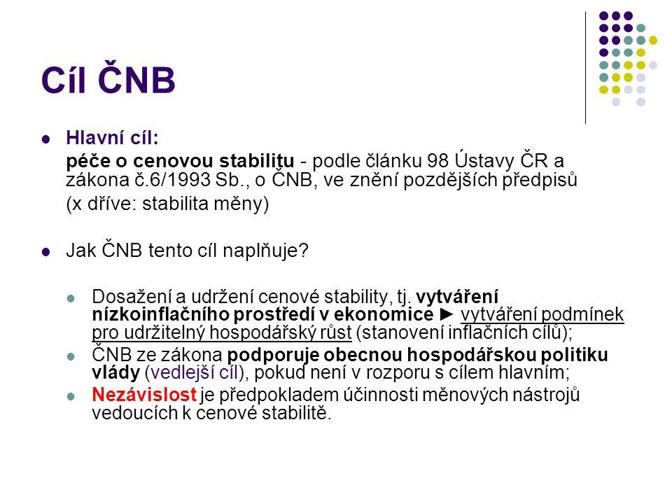 Cíl ČNB Hlavní cíl: péče o cenovou stabilitu - podle článku 98 Ústavy ČR a zákona č.6/1993 Sb., o ČNB, ve znění pozdějších předpisů (x dříve: stabilita měny) Jak ČNB tento cíl naplňuje.