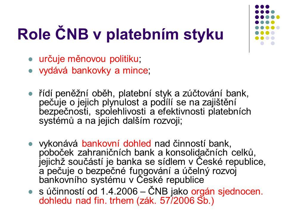 Role ČNB v platebním styku určuje měnovou politiku; vydává bankovky a mince; řídí peněžní oběh, platební styk a zúčtování bank, pečuje o jejich plynulost a podílí se na zajištění bezpečnosti, spolehlivosti a efektivnosti platebních systémů a na jejich dalším rozvoji; vykonává bankovní dohled nad činností bank, poboček zahraničních bank a konsolidačních celků, jejichž součástí je banka se sídlem v České republice, a pečuje o bezpečné fungování a účelný rozvoj bankovního systému v České republice s účinností od 1.4.2006 – ČNB jako orgán sjednocen.