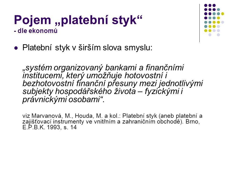"""Pojem """"platební styk - dle ekonomů Platební styk v širším slova smyslu: """"systém organizovaný bankami a finančními institucemi, který umožňuje hotovostní i bezhotovostní finanční přesuny mezi jednotlivými subjekty hospodářského života – fyzickými i právnickými osobami ."""