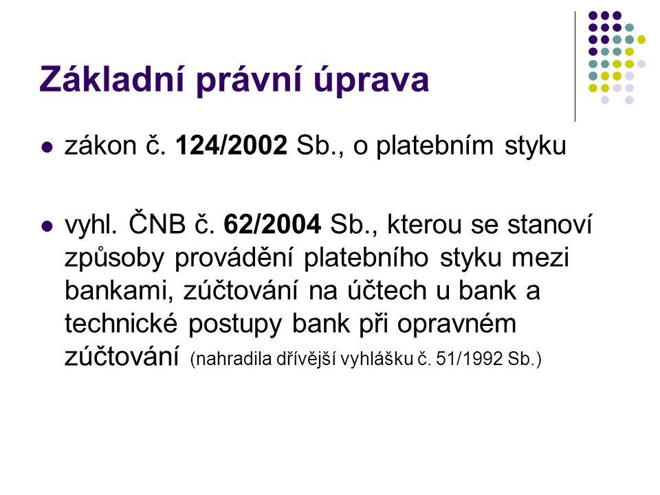 Základní právní úprava zákon č. 124/2002 Sb., o platebním styku vyhl. ČNB č. 62/2004 Sb., kterou se stanoví způsoby provádění platebního styku mezi ba