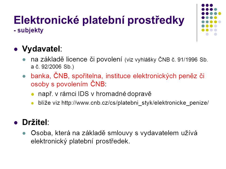 Elektronické platební prostředky - subjekty Vydavatel: na základě licence či povolení (viz vyhlášky ČNB č.
