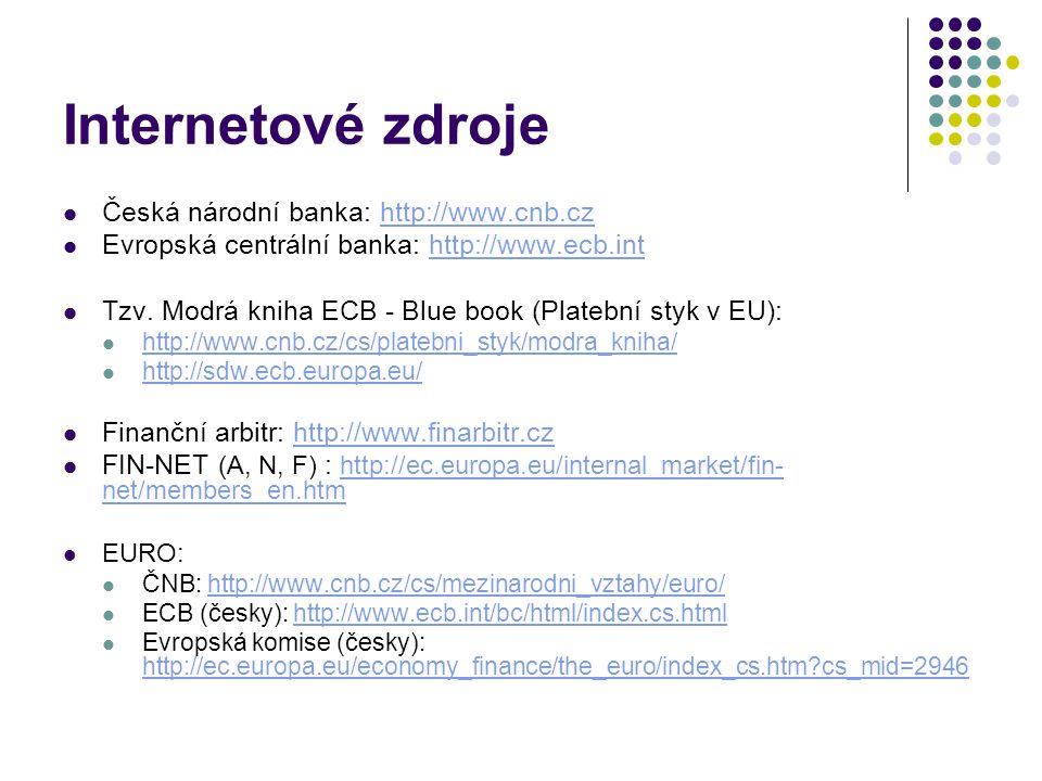 Internetové zdroje Česká národní banka: http://www.cnb.czhttp://www.cnb.cz Evropská centrální banka: http://www.ecb.inthttp://www.ecb.int Tzv. Modrá k