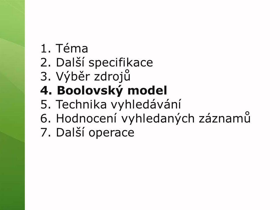 1. Téma 2. Další specifikace 3. Výběr zdrojů 4. Boolovský model 5. Technika vyhledávání 6. Hodnocení vyhledaných záznamů 7. Další operace