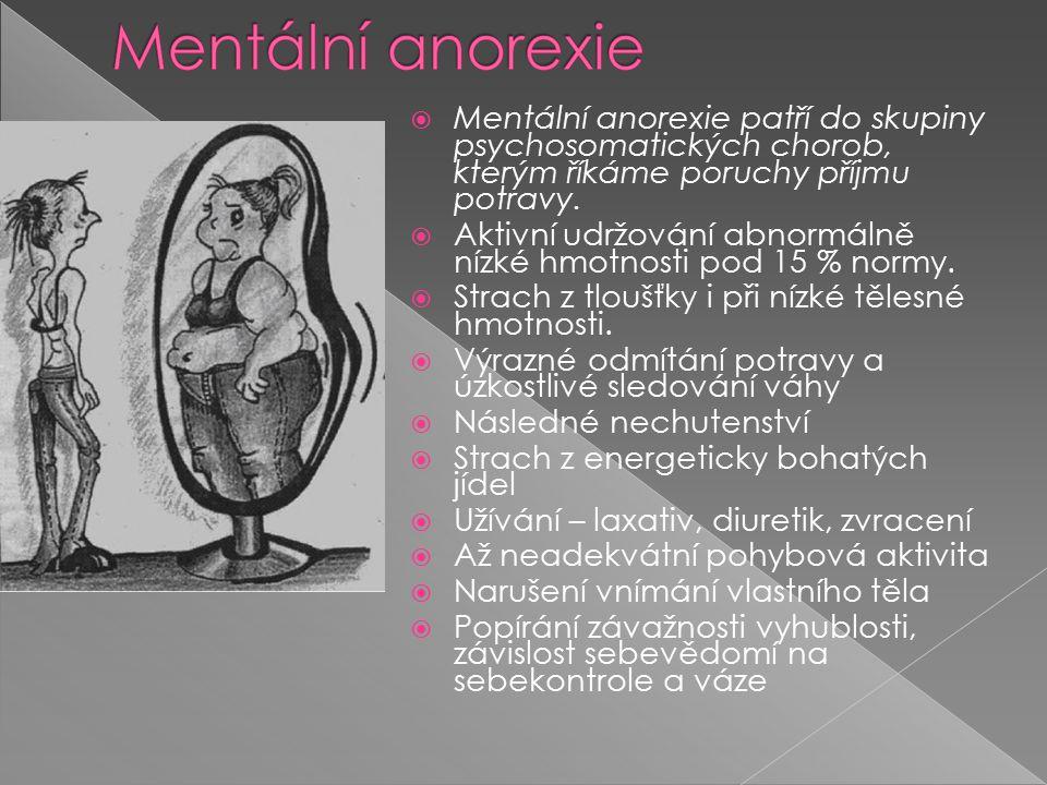  Mentální anorexie patří do skupiny psychosomatických chorob, kterým říkáme poruchy příjmu potravy.