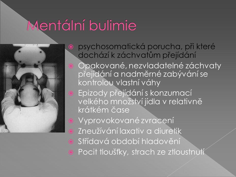  psychosomatická porucha, při které dochází k záchvatům přejídání  Opakované, nezvladatelné záchvaty přejídání a nadměrné zabývání se kontrolou vlastní váhy  Epizody přejídání s konzumací velkého množství jídla v relativně krátkém čase  Vyprovokované zvracení  Zneužívání laxativ a diuretik  Střídavá období hladovění  Pocit tloušťky, strach ze ztloustnutí
