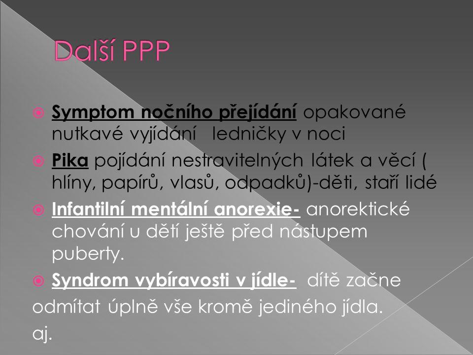  Symptom nočního přejídání opakované nutkavé vyjídání ledničky v noci  Pika pojídání nestravitelných látek a věcí ( hlíny, papírů, vlasů, odpadků)-děti, staří lidé  Infantilní mentální anorexie- anorektické chování u dětí ještě před nástupem puberty.