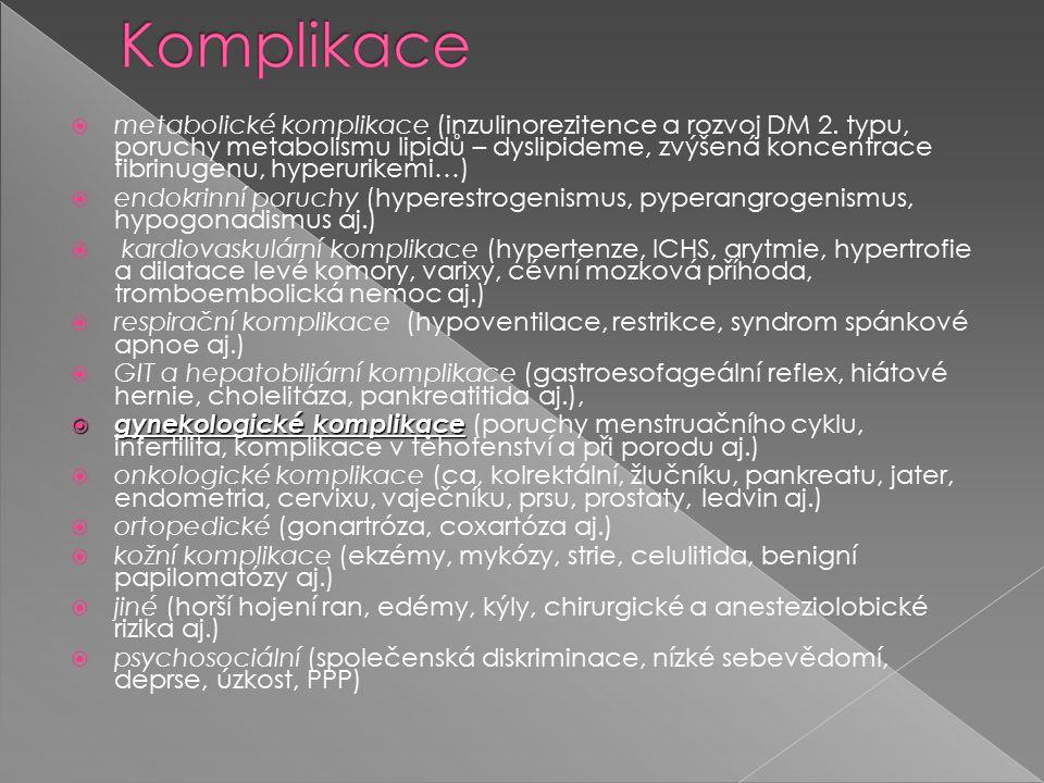  metabolické komplikace (inzulinorezitence a rozvoj DM 2.