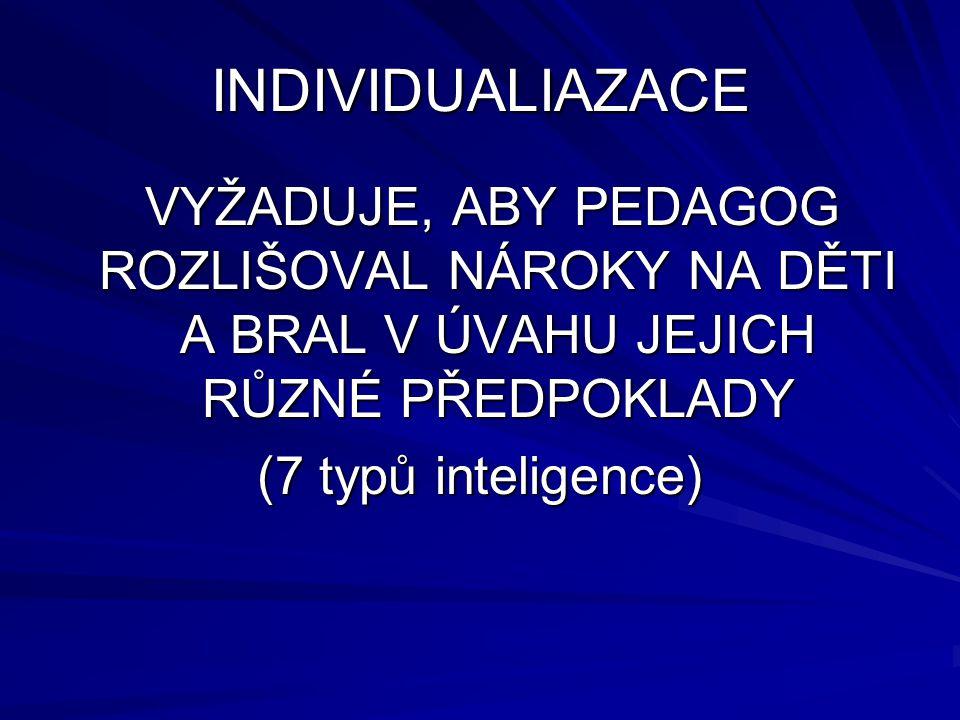 INDIVIDUALIAZACE VYŽADUJE, ABY PEDAGOG ROZLIŠOVAL NÁROKY NA DĚTI A BRAL V ÚVAHU JEJICH RŮZNÉ PŘEDPOKLADY (7 typů inteligence)