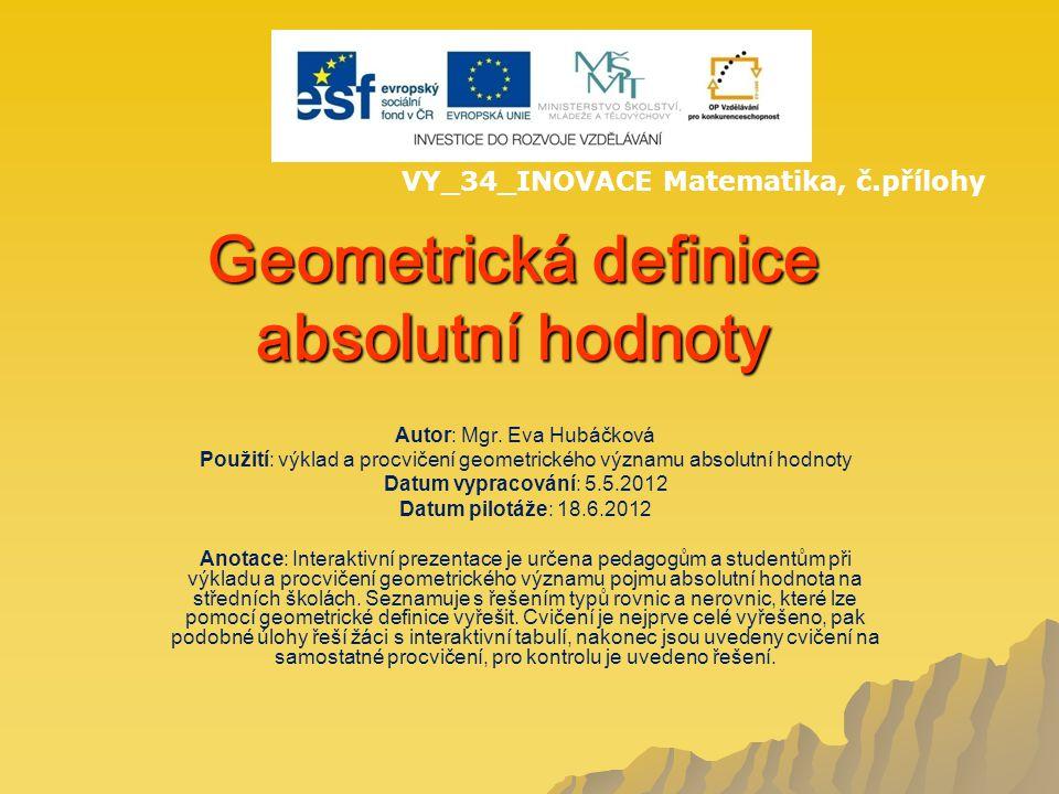 Geometrická definice absolutní hodnoty Autor: Mgr.