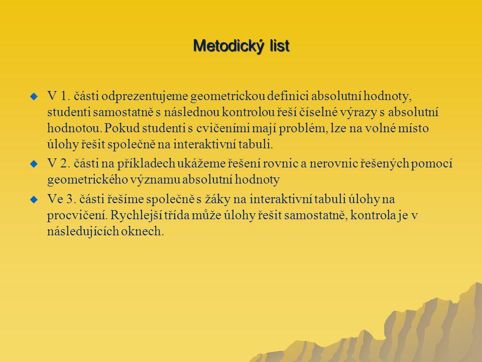 Metodický list   V 1.