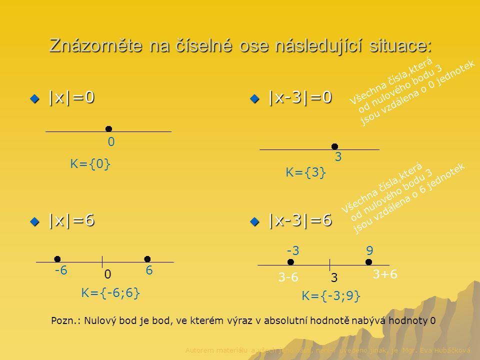 Znázorněte na číselné ose následující situace:  |x|=0  |x-3|=0  |x|=6  |x-3|=6 0 K={0} 0 6-6 K={-6;6} 3 K={3} 3 3+6 3-6 -39 Všechna čísla,která od nulového bodu 3 jsou vzdálena o 6 jednotek Všechna čísla,která od nulového bodu 3 jsou vzdálena o 0 jednotek K={-3;9} Pozn.: Nulový bod je bod, ve kterém výraz v absolutní hodnotě nabývá hodnoty 0 Autorem materiálu a všech jeho částí, není-li uvedeno jinak, je Mgr.