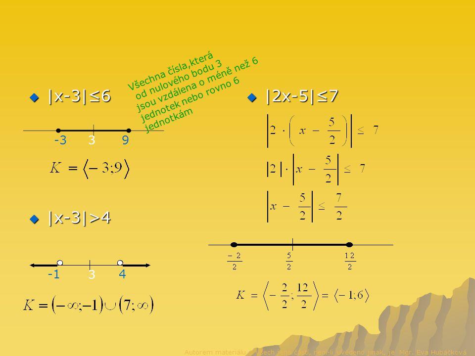  |x-3|≤6  |2x-5|≤7  |x-3|>4 39-3 Všechna čísla,která od nulového bodu 3 jsou vzdálena o méně než 6 jednotek nebo rovno 6 jednotkám 3 4 Autorem materiálu a všech jeho částí, není-li uvedeno jinak, je Mgr.