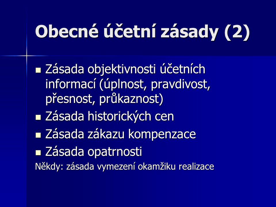 Obecné účetní zásady (2) Zásada objektivnosti účetních informací (úplnost, pravdivost, přesnost, průkaznost) Zásada objektivnosti účetních informací (
