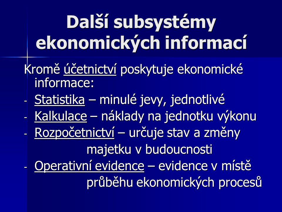 Další subsystémy ekonomických informací Další subsystémy ekonomických informací Kromě účetnictví poskytuje ekonomické informace: - Statistika – minulé