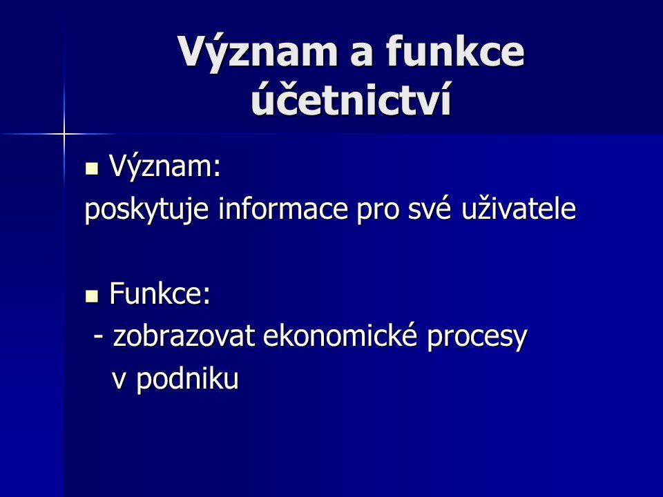 Význam a funkce účetnictví Význam: Význam: poskytuje informace pro své uživatele Funkce: Funkce: - zobrazovat ekonomické procesy - zobrazovat ekonomic