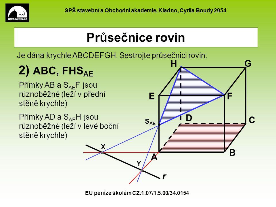 SPŠ stavební a Obchodní akademie, Kladno, Cyrila Boudy 2954 EU peníze školám CZ.1.07/1.5.00/34.0154 Průsečnice rovin A B C D EF GH r 2) ABC, FHS AE S