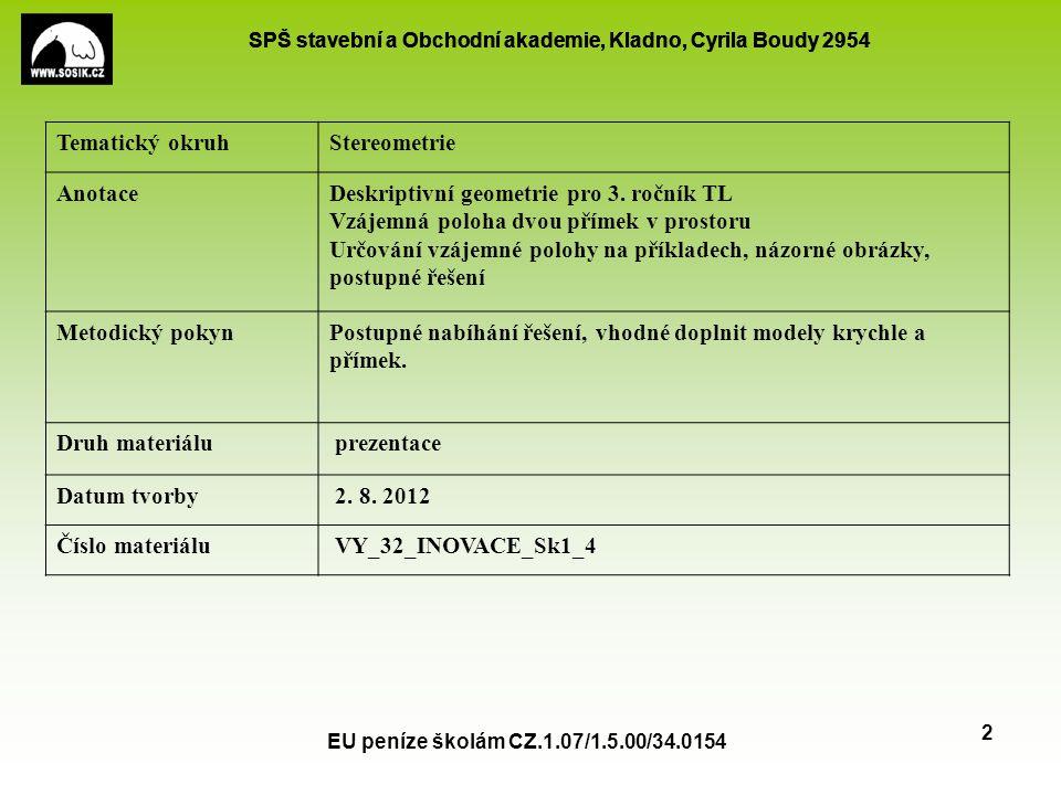 SPŠ stavební a Obchodní akademie, Kladno, Cyrila Boudy 2954 EU peníze školám CZ.1.07/1.5.00/34.0154 2 Tematický okruhStereometrie AnotaceDeskriptivní