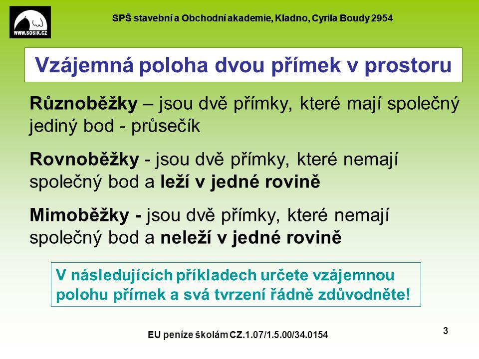 SPŠ stavební a Obchodní akademie, Kladno, Cyrila Boudy 2954 EU peníze školám CZ.1.07/1.5.00/34.0154 3 Vzájemná poloha dvou přímek v prostoru Různoběžk