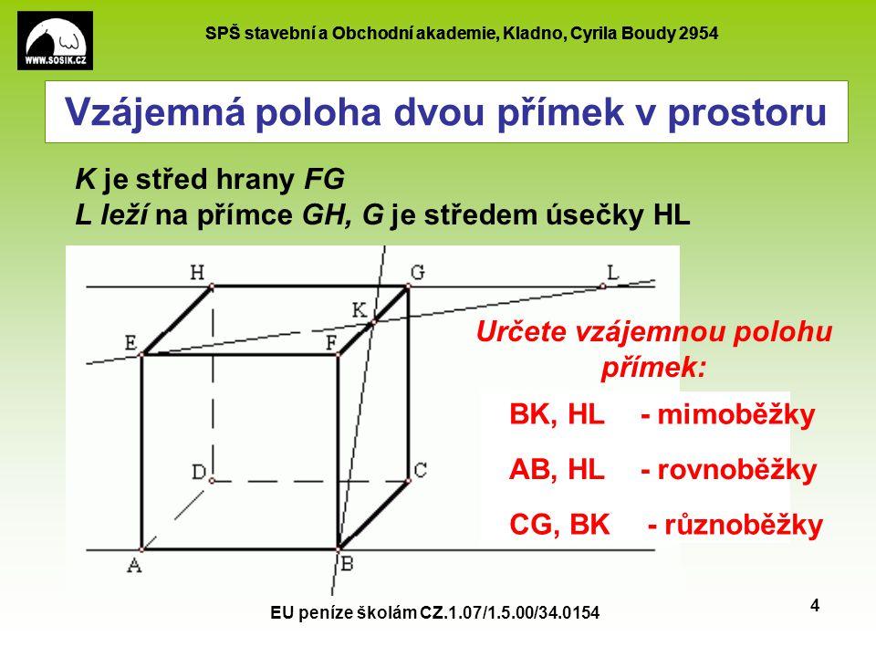 SPŠ stavební a Obchodní akademie, Kladno, Cyrila Boudy 2954 EU peníze školám CZ.1.07/1.5.00/34.0154 5 Vzájemná poloha dvou přímek v prostoru p q p q 1)2) p, q - mimoběžkyp, q - různoběžky