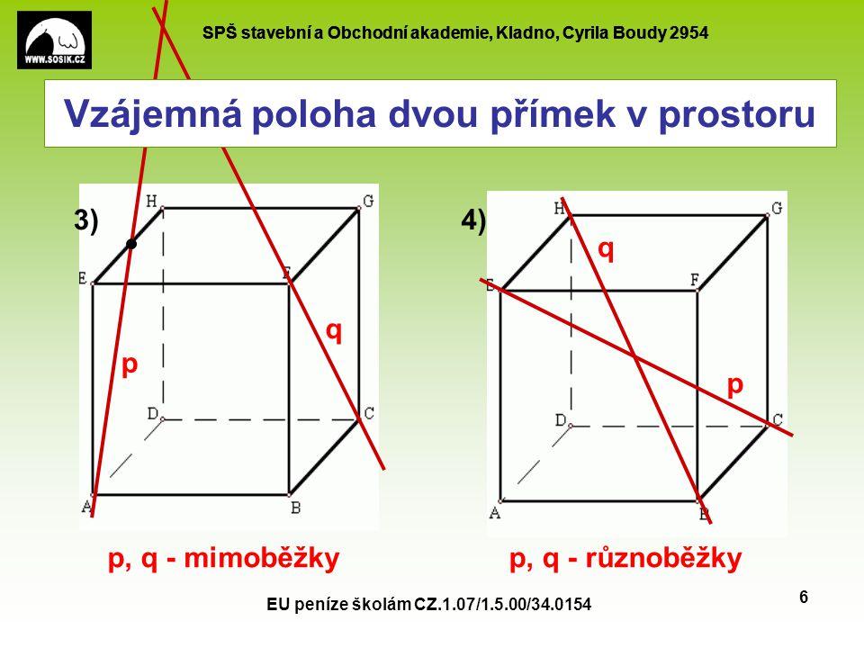 SPŠ stavební a Obchodní akademie, Kladno, Cyrila Boudy 2954 EU peníze školám CZ.1.07/1.5.00/34.0154 6 p q p q 3)4) p, q - mimoběžkyp, q - různoběžky V