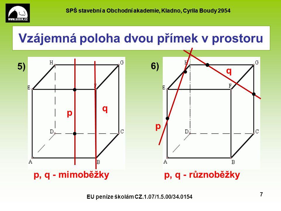 SPŠ stavební a Obchodní akademie, Kladno, Cyrila Boudy 2954 EU peníze školám CZ.1.07/1.5.00/34.0154 7 Vzájemná poloha dvou přímek v prostoru p q p q 5
