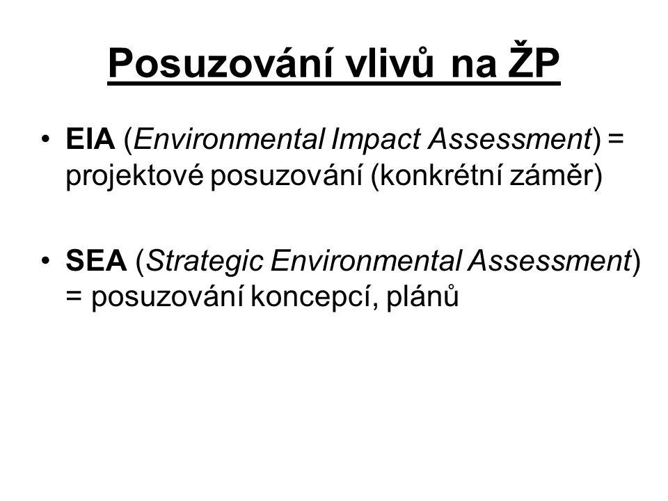 Prameny právní úpravy MP: –Espoo úmluva (Úmluva o posuzování vlivů na životní prostředí přesahující hranice států) + Protokol SEA EU: –Směrnice Rady 85/337/EHS o posuzování vlivů některých veřejných a soukromých záměrů na životní prostředí –Směrnice EP a Rady 2001/42/ES o posuzování vlivů některých plánů a programů na životní prostředí ČR: –Zákon č.