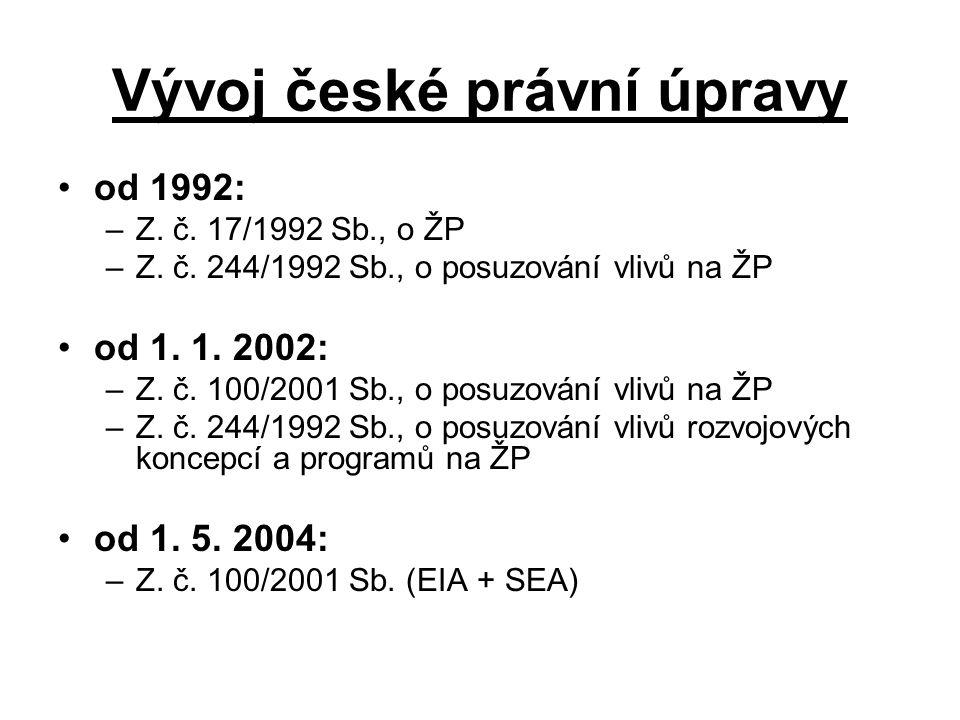 Vývoj české právní úpravy od 1992: –Z. č. 17/1992 Sb., o ŽP –Z.