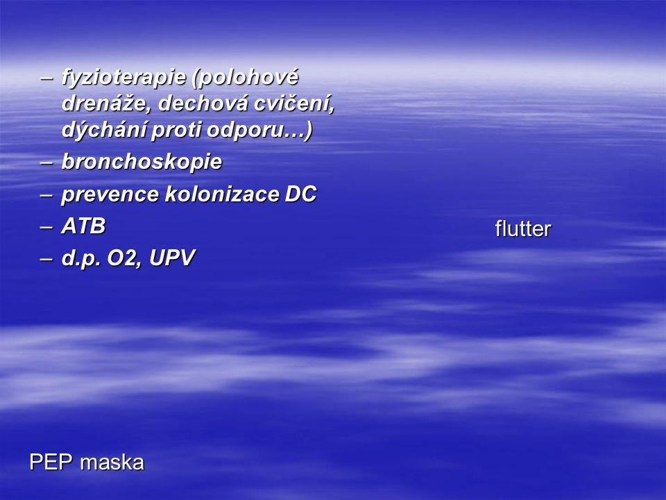 PEP maska flutter –fyzioterapie (polohové drenáže, dechová cvičení, dýchání proti odporu…) –bronchoskopie –prevence kolonizace DC –ATB –d.p. O2, UPV