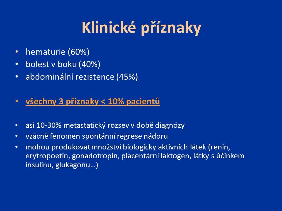 Klinické příznaky hematurie (60%) bolest v boku (40%) abdominální rezistence (45%) všechny 3 příznaky < 10% pacientů asi 10-30% metastatický rozsev v