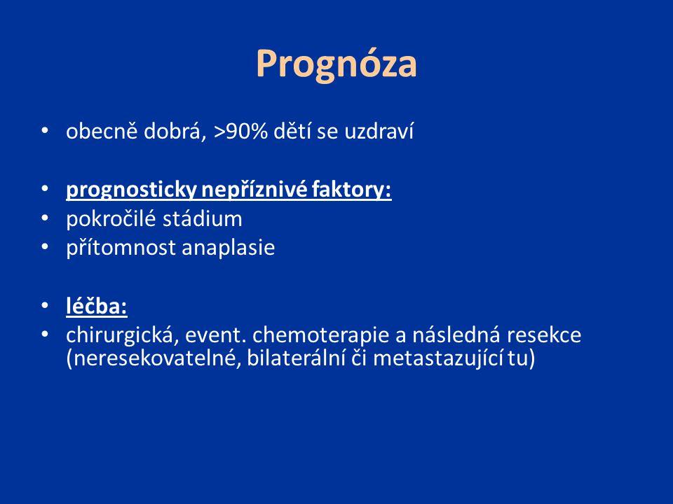 Prognóza obecně dobrá, >90% dětí se uzdraví prognosticky nepříznivé faktory: pokročilé stádium přítomnost anaplasie léčba: chirurgická, event. chemote
