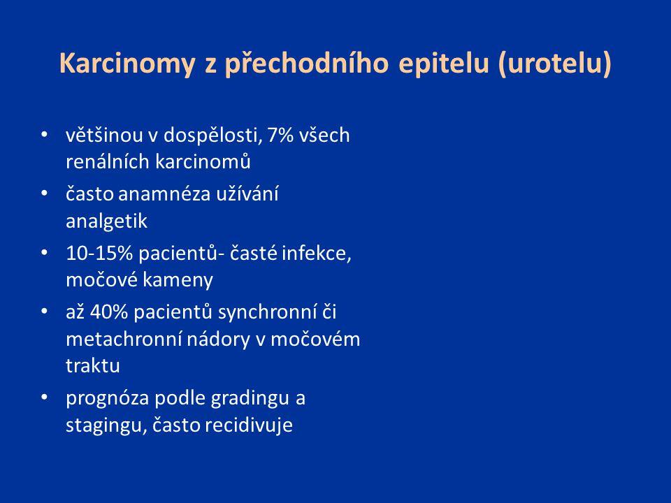 Karcinomy z přechodního epitelu (urotelu) většinou v dospělosti, 7% všech renálních karcinomů často anamnéza užívání analgetik 10-15% pacientů- časté