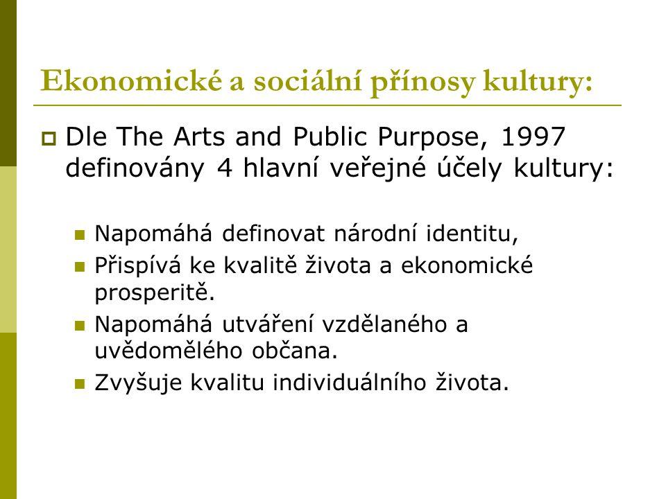 Ekonomické a sociální přínosy kultury:  Dle The Arts and Public Purpose, 1997 definovány 4 hlavní veřejné účely kultury: Napomáhá definovat národní identitu, Přispívá ke kvalitě života a ekonomické prosperitě.