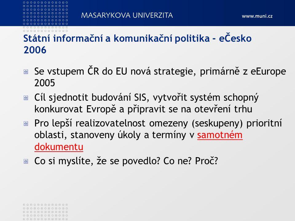 Státní informační a komunikační politika - eČesko 2006 Se vstupem ČR do EU nová strategie, primárně z eEurope 2005 Cíl sjednotit budování SIS, vytvoři