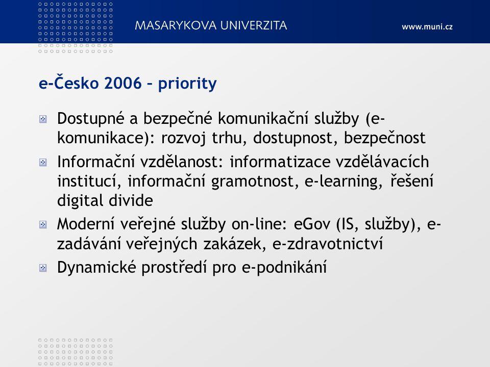e-Česko 2006 – priority Dostupné a bezpečné komunikační služby (e- komunikace): rozvoj trhu, dostupnost, bezpečnost Informační vzdělanost: informatiza